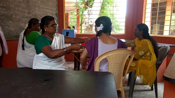 Vaccination for 11th grade students by Dr.Indra Gandhi (Primary health centre – kottakuppam)